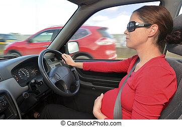 женщина, автомобиль, водить машину, -, беременность, беременная