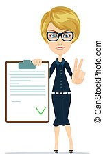 женщина, агент, костюм, менеджер, insurance., документ, или, shows