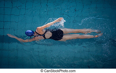 женщина, бассейн, поместиться, плавание