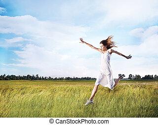 женщина, бег, через, поле