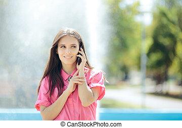 женщина, бизнес, умная, повседневная, телефон, talking