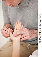 женщина, большой палец, человек, massaging