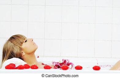 женщина, ванна, цветок