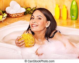 женщина, взять, пузырь, bath.