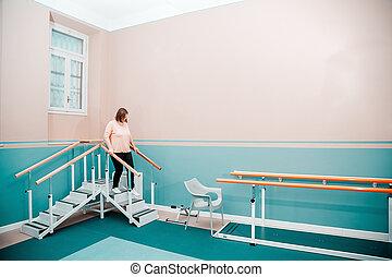 женщина, восстановление, после, оборудование, с помощью, хирургия
