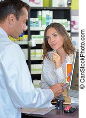женщина, в, , аптека