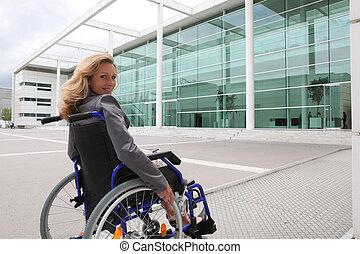 женщина, в, инвалидная коляска