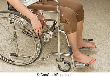 женщина, в, , инвалидная коляска