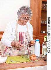 женщина, в, , кухня