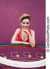 женщина, в, покер, таблица, with, распространение, палуба