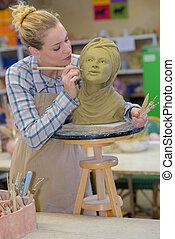 женщина, декорирование, глава, в, керамика, класс