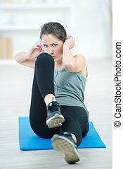 женщина, дела, упражнение