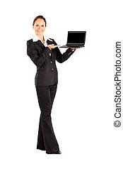 женщина, держа, , портативный компьютер, isolated, на, белый