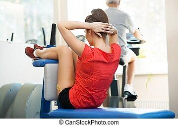 женщина, другой, молодой, человек, фитнес, старшая, exercises
