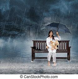 женщина, зонтик