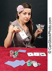 женщина, игорный, в, , казино