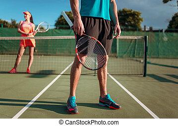 женщина, игры, большой теннис, воздух, открытый, человек