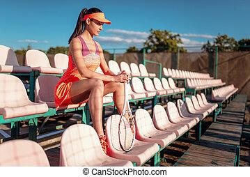 женщина, игры, большой теннис, на открытом воздухе