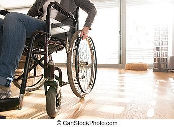 женщина, инвалидная коляска, отключен, unrecognizable, старшая, home.