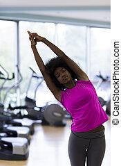 женщина, йога, гимнастический зал, американская, африканец, упражнение