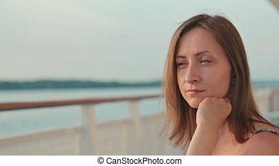 женщина, корабль, сидящий, палуба, круиз