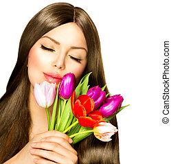 женщина, красота, букет, весна, тюльпан, цветы