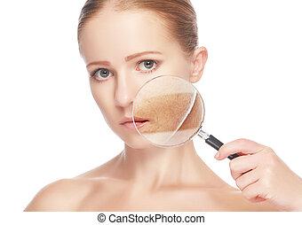 женщина, красота, после, молодой, skincare., концепция, кожа, увеличительное стекло, процедура, до