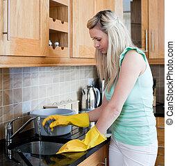 женщина, кухня, молодой, уборка