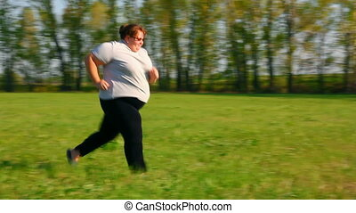 женщина, луг, -, избыточный вес, бег, зеленый, спорт