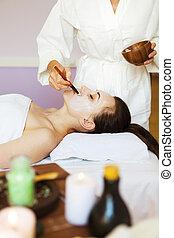 женщина, маска, молодой, лицо, лечение, спа, белый, mud., терапевтический