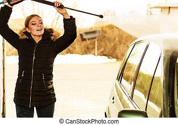женщина, мойка, автомобиль, на открытом воздухе