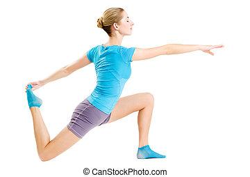 женщина, молодой, фитнес