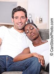 женщина, наблюдение, молодой, нас, пара, черный, белый, спать, его, человек