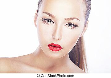 женщина, натуральный, чистый, здоровый, beauty., губы, -, лицо, чистый, кожа, роскошный, красный