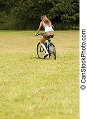 женщина, на, , велосипед