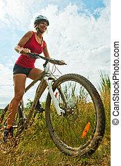женщина, на, велосипед