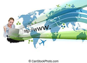 женщина, на, портативный компьютер, with, интернет, проекция