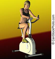 женщина, на, упражнение, велосипед
