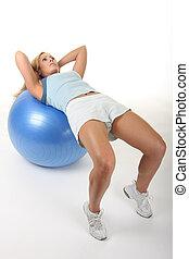 женщина, на, упражнение, мяч