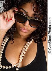 женщина, носить, glasses