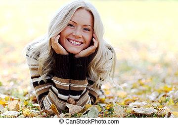 женщина, осень