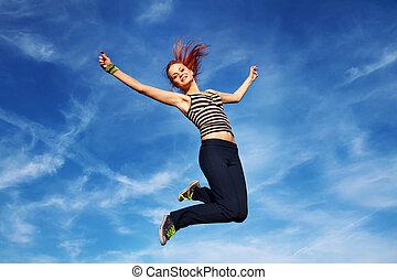 женщина, открытый, молодой, прыжки, воздух