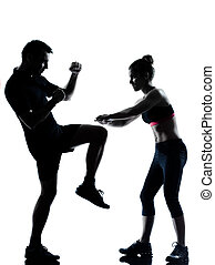 женщина, пара, exercising, один, фитнес, разрабатывать, человек