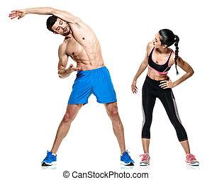 женщина, пара, isolated, фитнес, exercises, человек