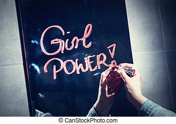 "женщина, письмо, ""girl, power"", на, , зеркало, with, красный, lipstick."