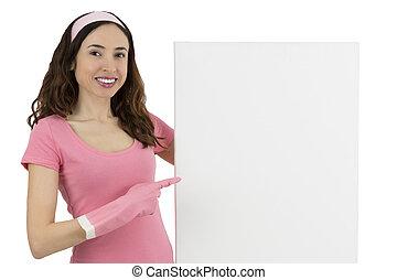 женщина, плакат, показ, уборка, пустой, реклама