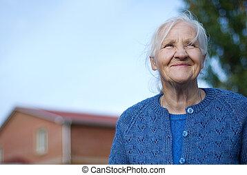 женщина, пожилой, счастливый