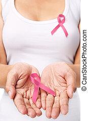 женщина, показ, розовый, лента, к, поддержка, грудь, рак, причина