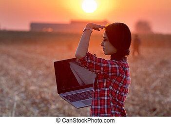 женщина, поле