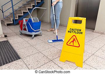женщина, пол, знак, осторожность, уборка, влажный